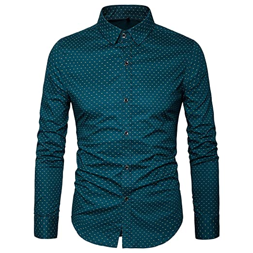 Muse Fath Men's Printed Dress Shirt 100 Percents Cotton Casual Long Sleeve Shirt Regular Fit Button Down Point Collar Shirt by Muse Fath