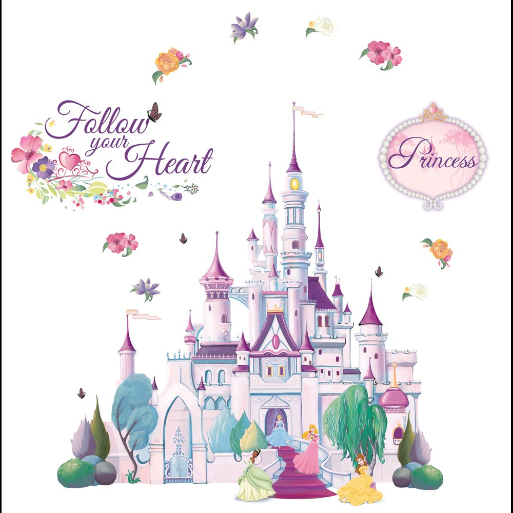 DISNEY Princess Castle Self Stick Mini Wall Mural With Sparkly Glitter   23  Stickers: Amazon.co.uk: DIY U0026 Tools Part 47