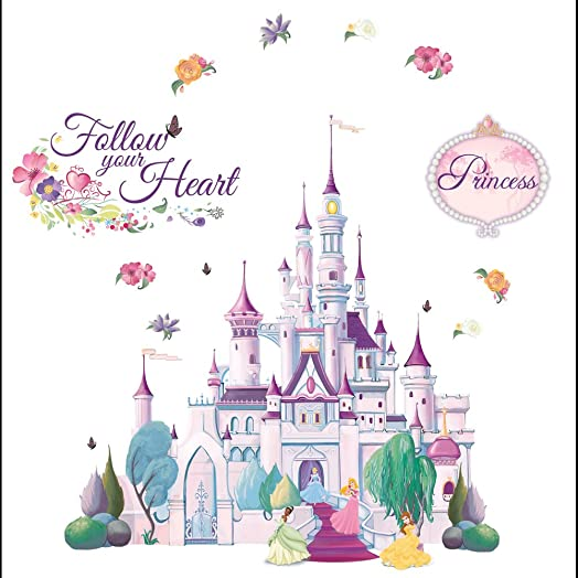 DISNEY Princess Castle Self Stick Mini Wall Mural With Sparkly Glitter   23  Stickers Part 97