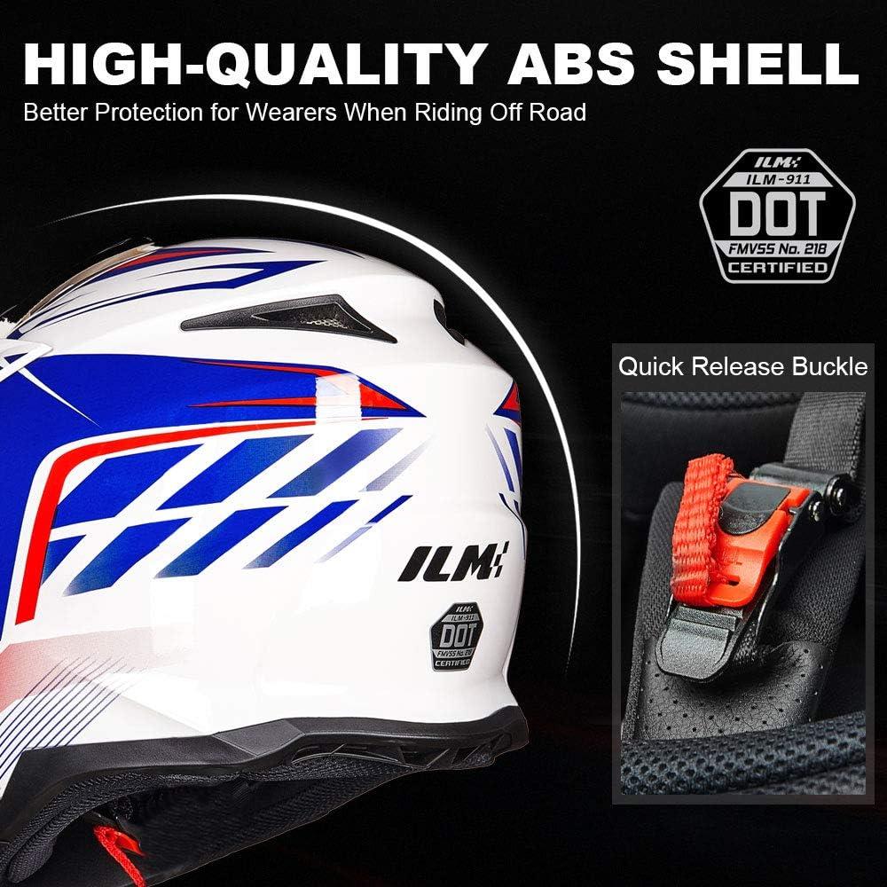 M Yellow Blue ILM Adult ATV Motocross Off-Road Street Dirt Bike Full Face Motorcycle Helmet DOT Approved Dual Sports Suits Men Women
