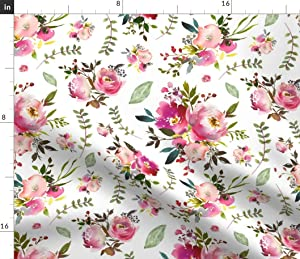 Spoonflower Fabric - Watercolor Peonies Roses Floral Pink Plum Blush Flowers Garden Blooms Printed on Minky Fabric by The Yard - Sewing Baby Blankets Quilt Backing Plush Toys
