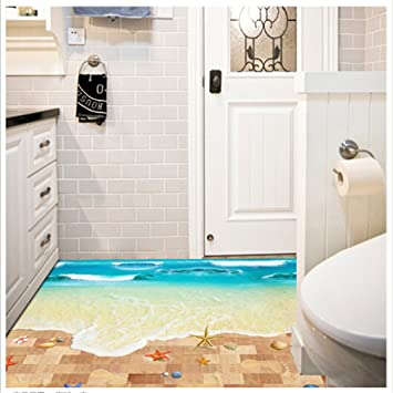 Canvivi 3d Bodentattoo Bodensticker Badezimmer Boden Dekoration Aufkleber Meeresstrand