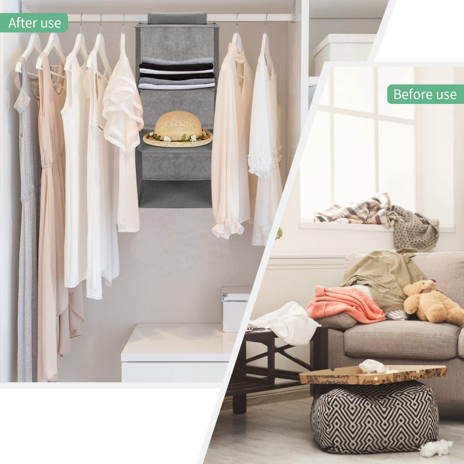 Collapsible Closet Hanging Shelves for Storage Clothes 3 Shelf Hanging Shelves with a Hook and Loops Bra Pants ZANBO Hanging Closet Organizer Sock and More