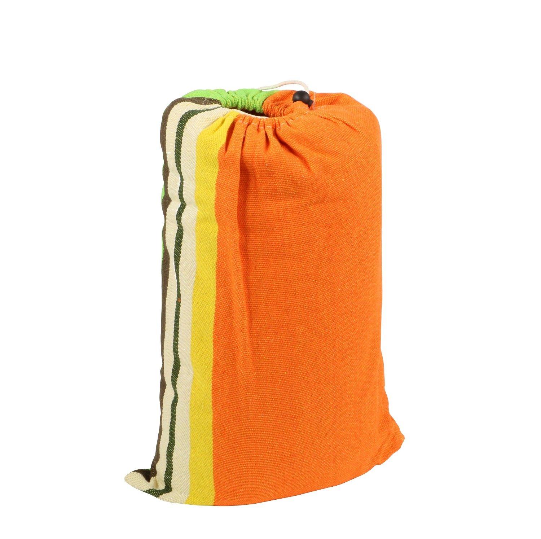 con bolsa de transporte Gran tama/ño 300 x 200 cm Tejido muy resistente de polialgod/ón Naranja arco /íris Hesp/éride Hamaca para colgar
