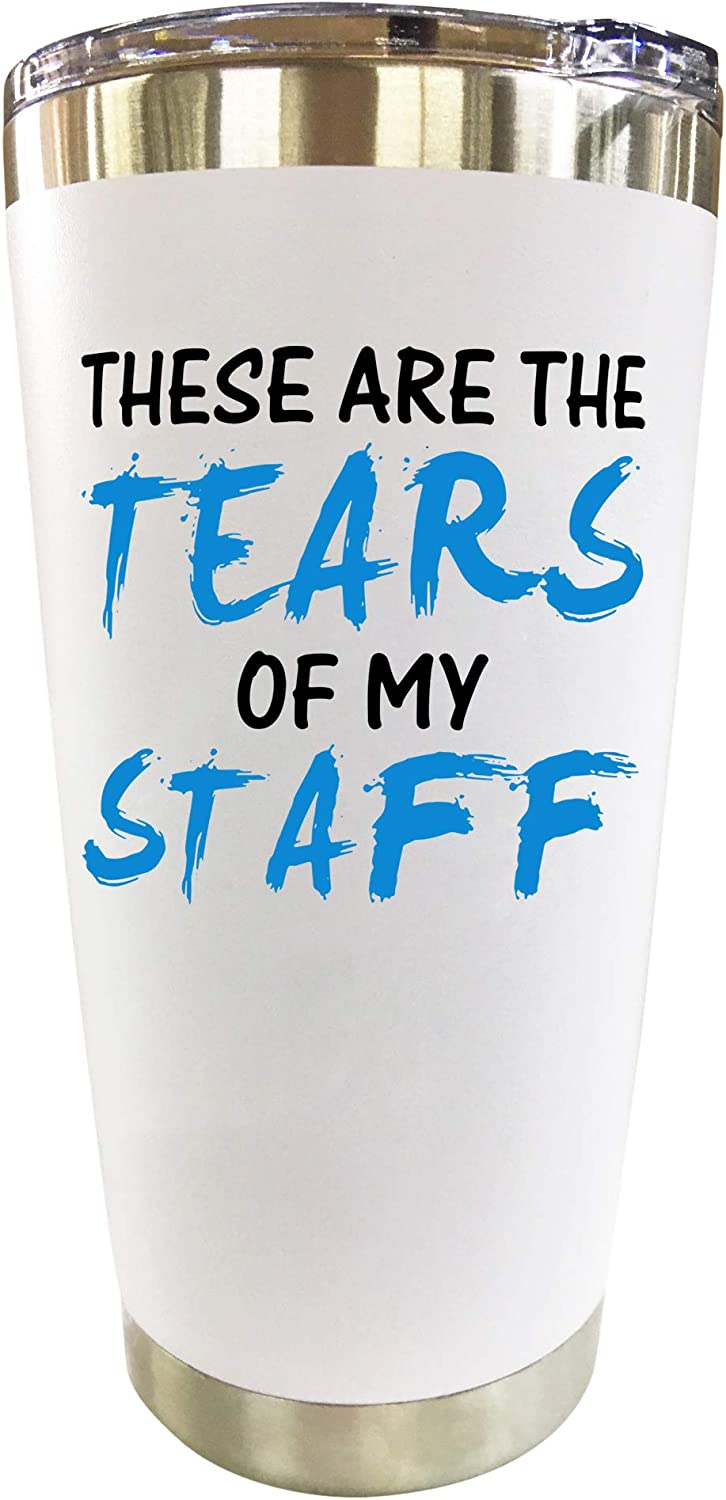 """Boss Gifts - Travel Coffee Mug/Tumbler 20oz""""Tears of My Staff"""" - Funny Gift Idea for Worlds Best Boss, Men, Women, Him, Principal, Assistant, Female, Bosses Day, Office, From Employees"""
