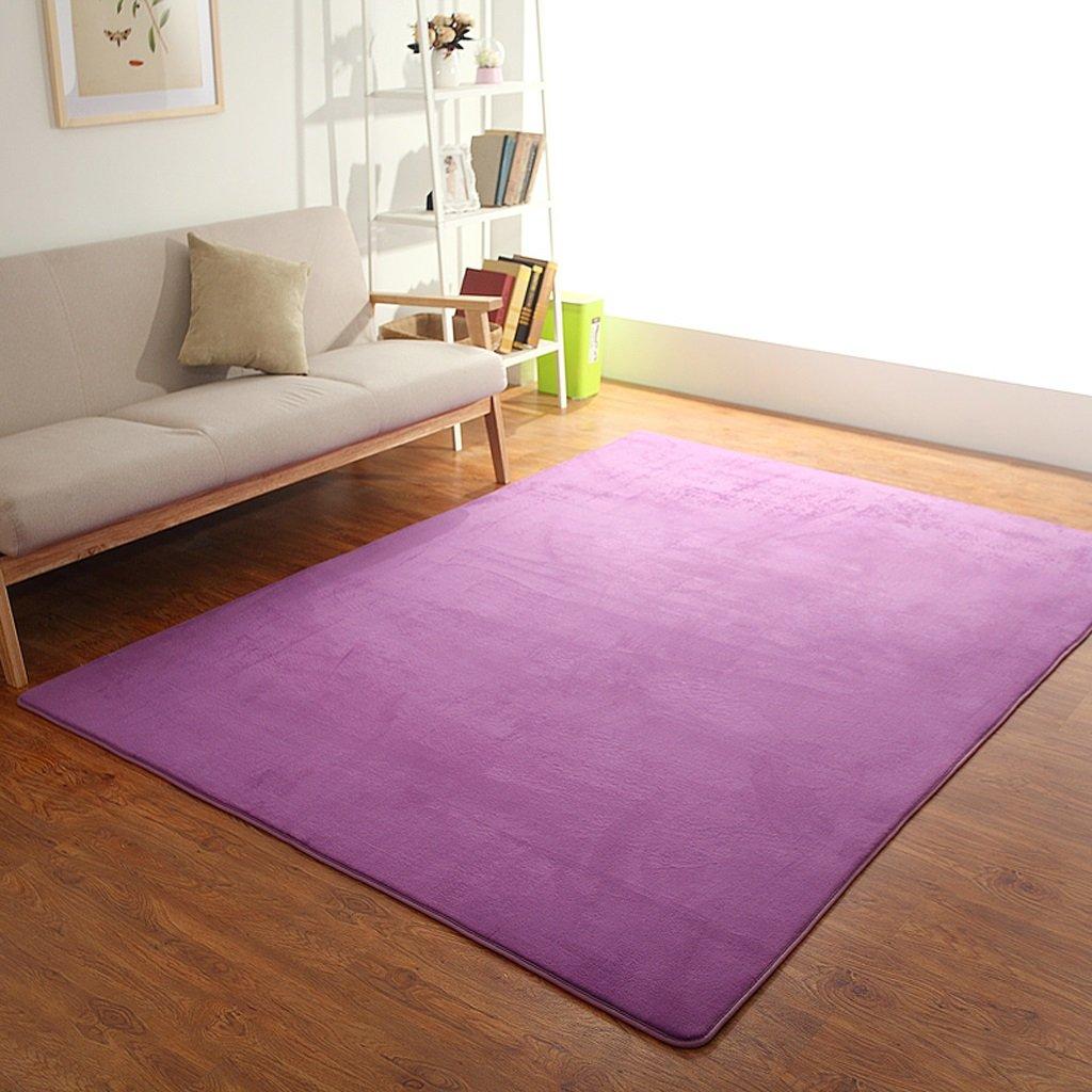 Hyun times Carpet coral European living room coffee table mat sofa bedroom full floor mattress mats ( Color : Purple , Size : 1.21.6m )