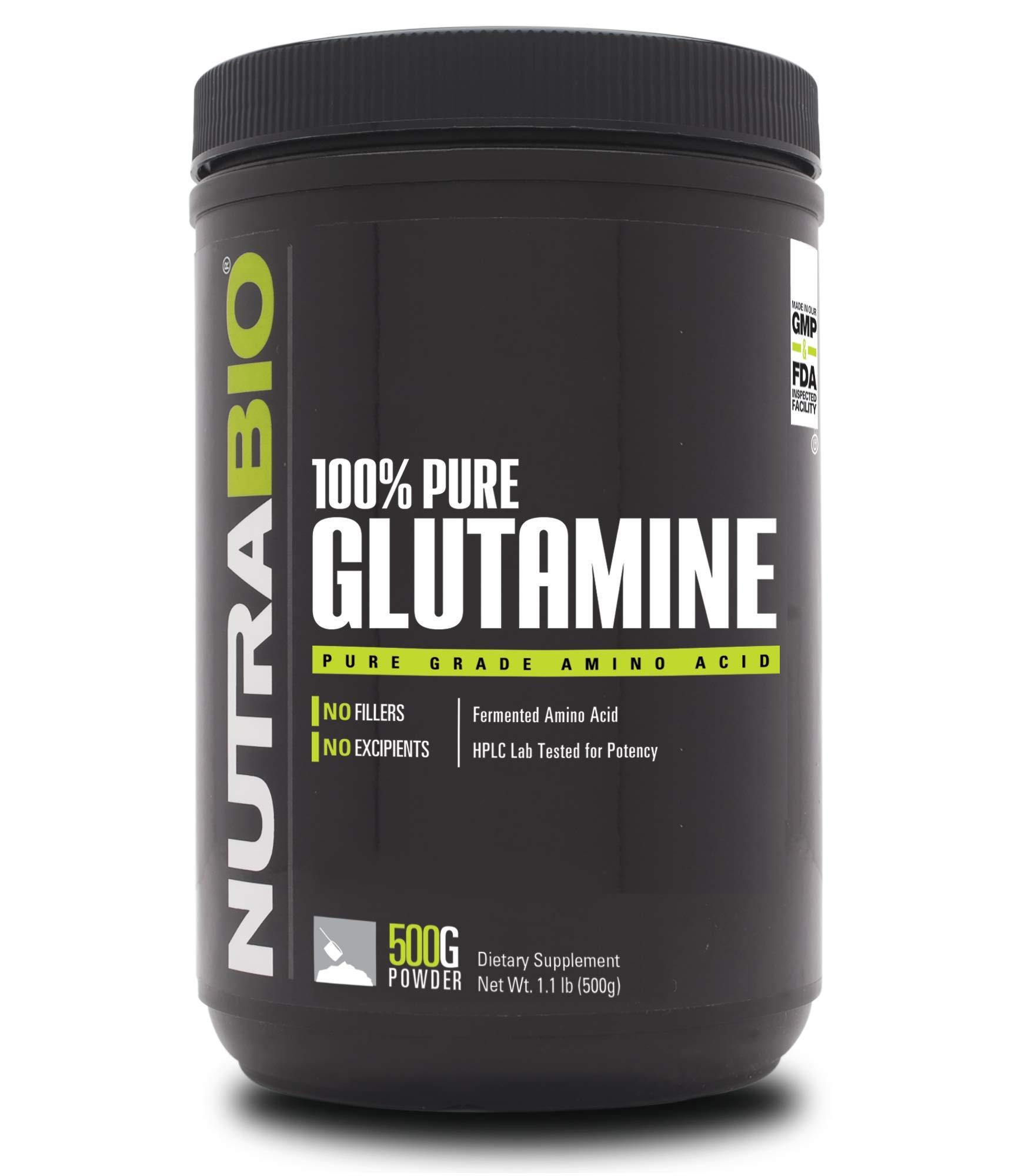 NutraBio 100% Pure L-Glutamine Powder - 500 Grams by NutraBio