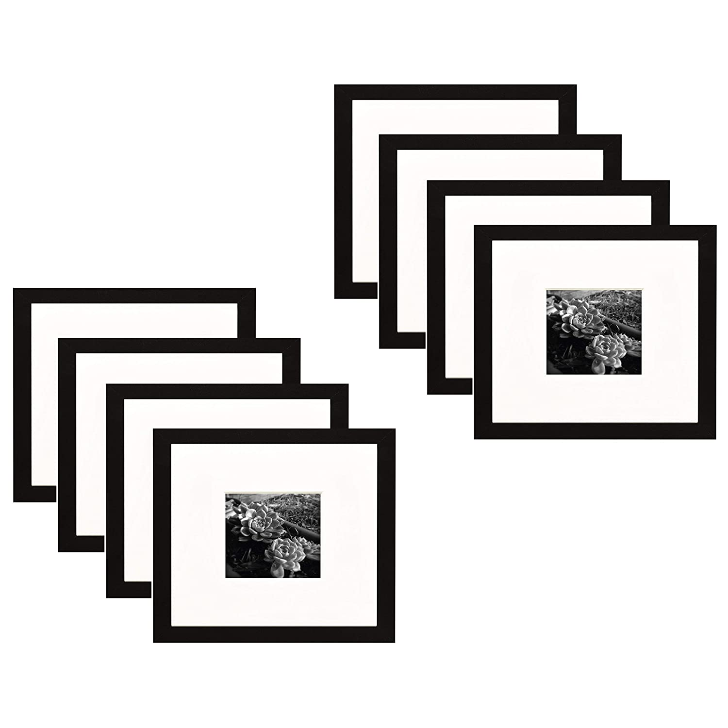 Golden State Art,Set of 2 2 8x8 Black Photo Frame with Ivory Color Mat for 4x4 Picture /& Real Glass Wall Photo Frame Collection