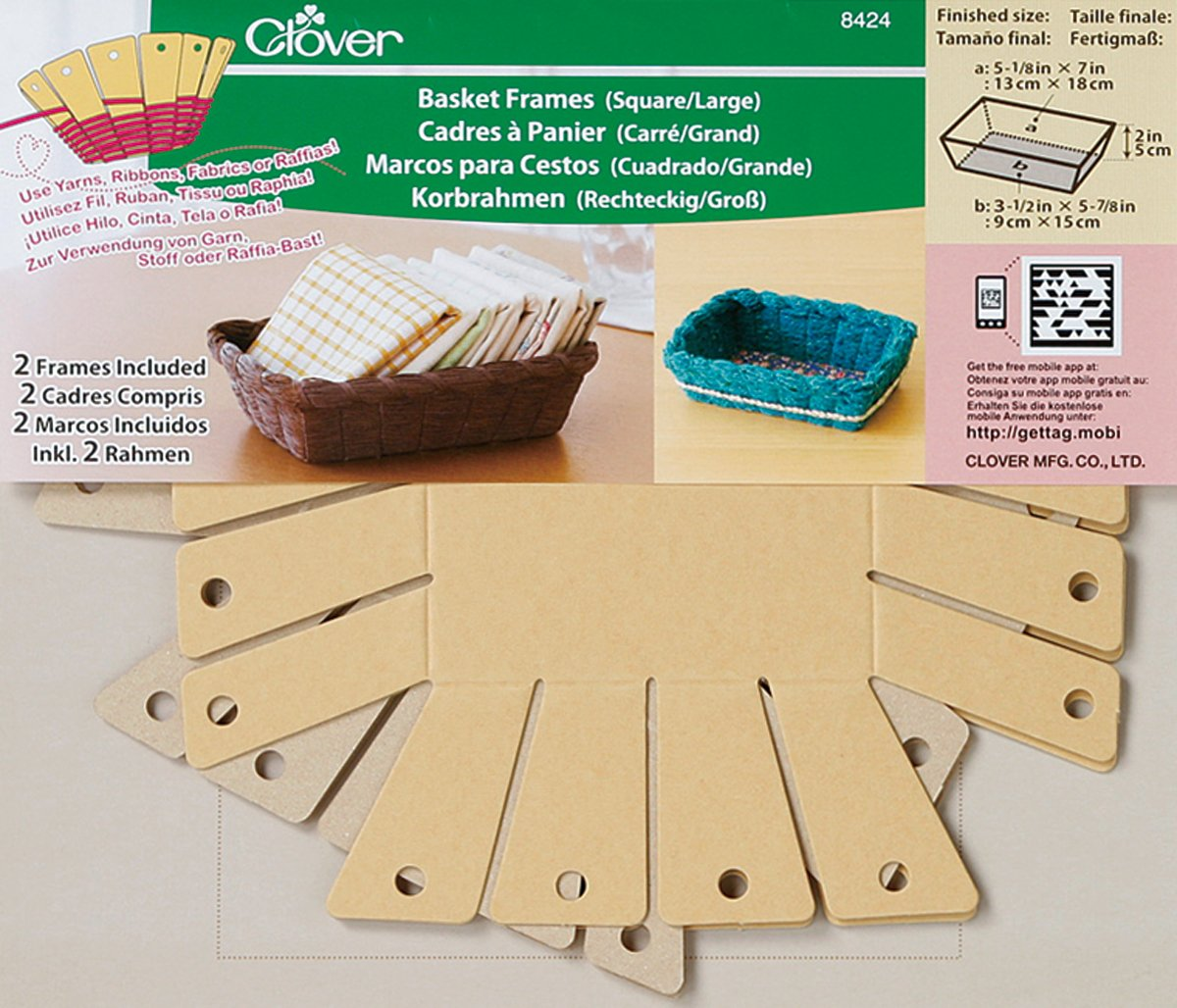 Clover 8424 2-Piece 7-Inch by 5-1/8-Inch by 2-Inch Basket Frames, Large, Square Clover Needlecraft