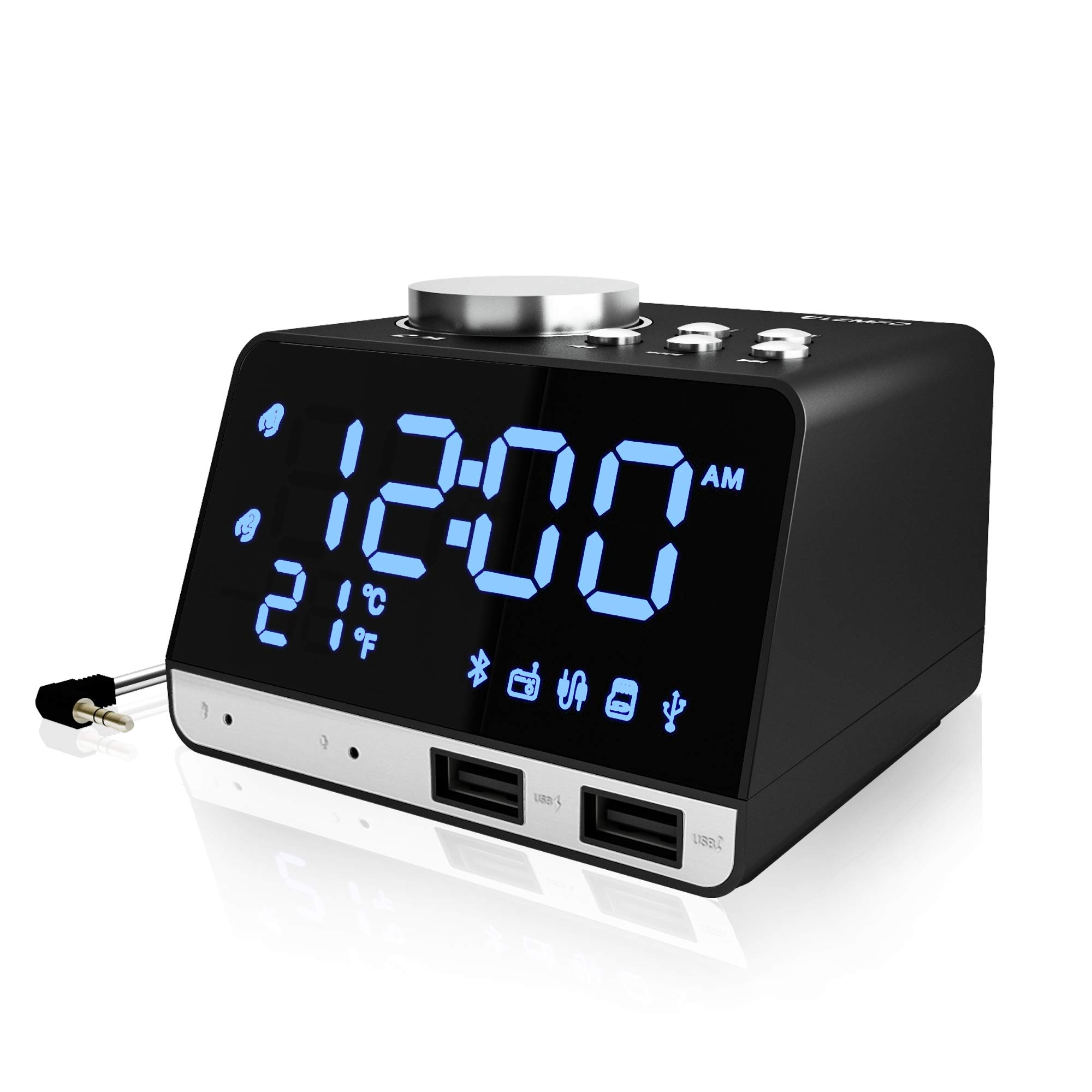 Clock Radio, Alarm Clock Radio for Bedrooms FM Radio Bluetooth Clock Radio with USB Charger Adjustable Brightness Volume Dual Alarms with Battery Backup LED Display Snooze Sleep Timer