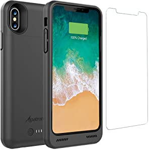 Alpatronix iPhone Xs/X Battery Case, BXX 4200mAh Qi Compatible Wireless Portable Power Bank and iPhone Xs Slim Charger, 50% Faster Charging Battery Pack, Original iPhone Lightning Chip – Black
