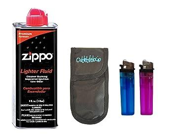Gasolina Zippo para encendedores 125ml + funda portamecheros con 2 mecheros: Amazon.es: Deportes y aire libre