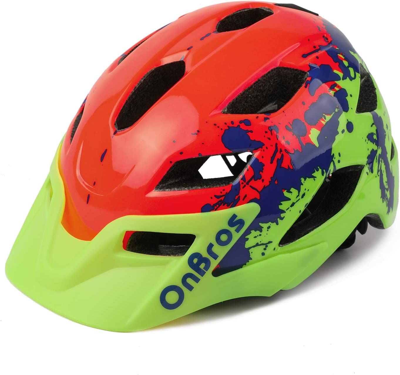 OnBros Kids Bike Helmet, Lightweight Cycling Helmet for Children, Size Adjustable Bicycle Helmets for Boys and Girls Age 5-13, 50-57cm