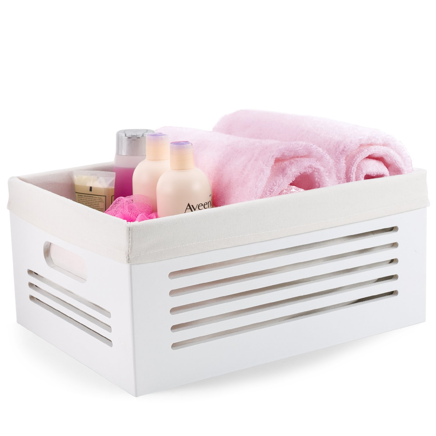 Wooden Storage Bin Container - Decorative Closet, Cabinet and Shelf Basket Organizer Lined with Machine Washable Soft Linen Fabric - White, Large
