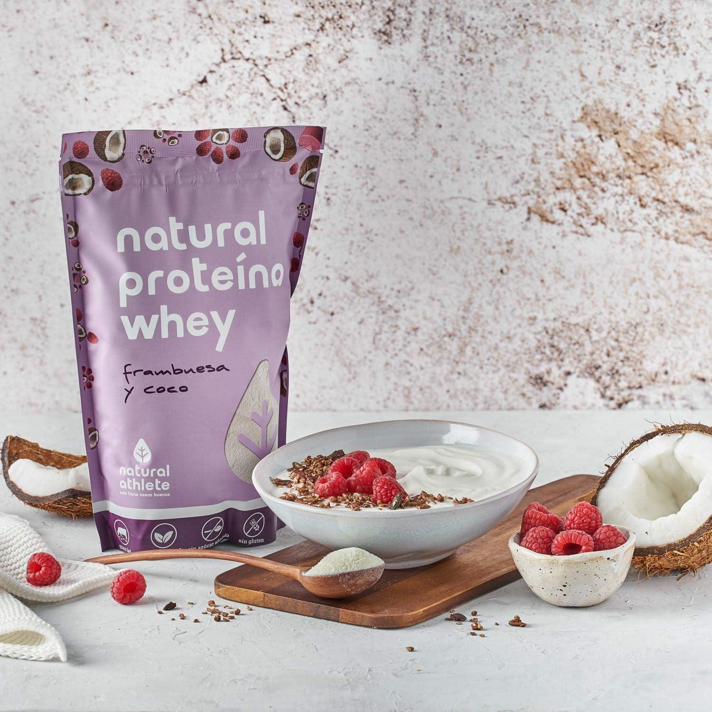 Proteína Whey Frambuesa/Coco Natural Athlete Aislado de Suero de Leche de Vacas de Pastoreo Sin Azúcar Añadido, 100% Natural, Sin Gluten – 750 g: Amazon.es: Alimentación y bebidas