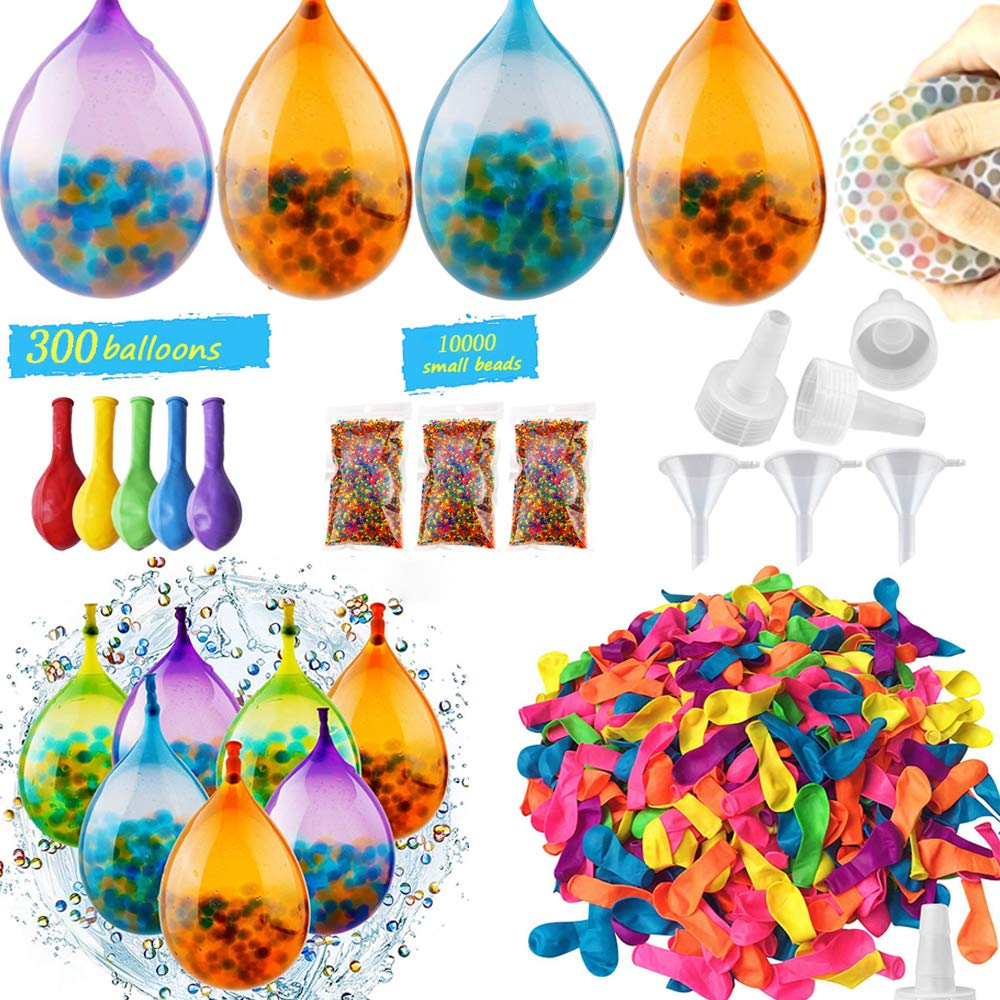 Geenber Instant Water Balloons, 300 Self-Sealing Water Balloons and 10000 Water Beads, Super Water Balloon Sensory Toys for Splash Fun Kids and Adults Party