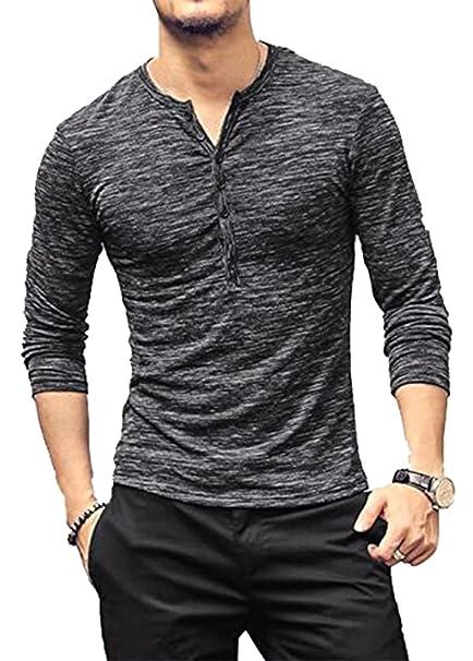 785ec8a3 Amazon.com: MAXIMGR Men's Casual Button Down Tee Shirt Slim Fit Long Sleeve  Muscle T-Shirt Jersey: Clothing