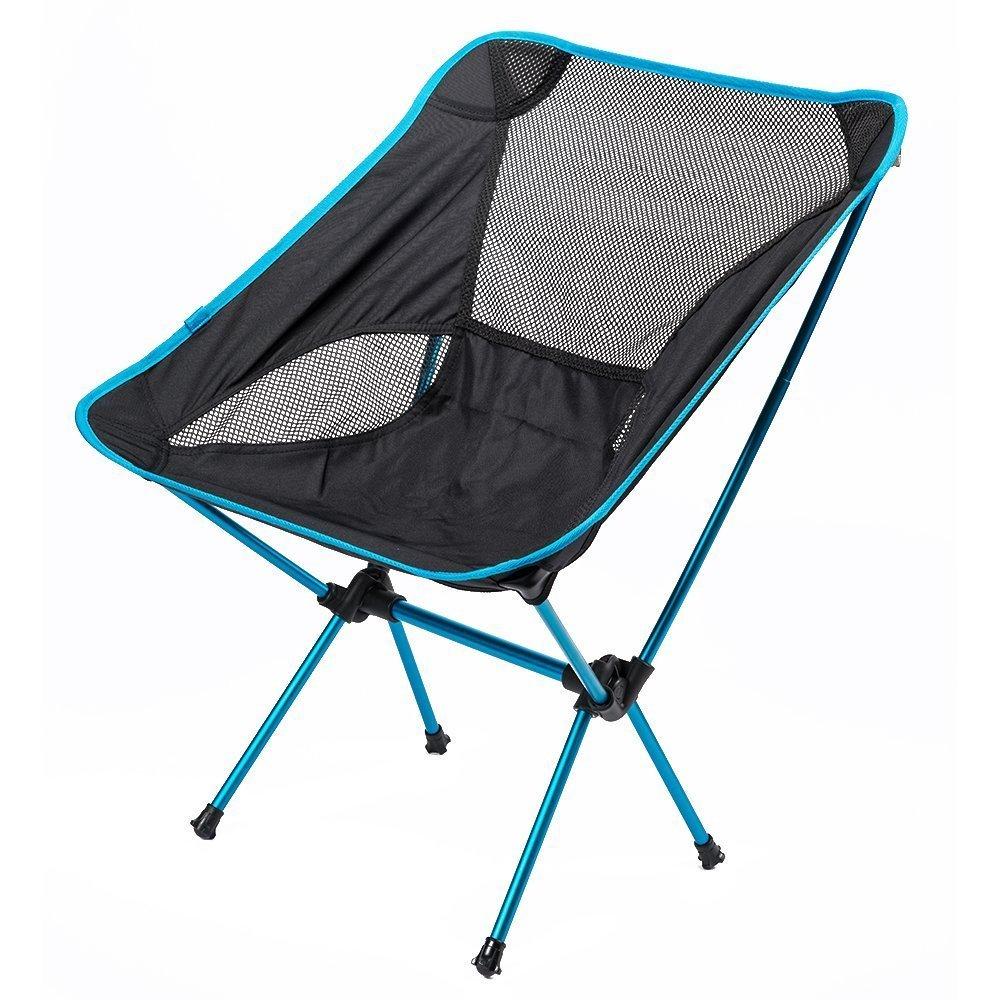 SUNVP Outdoor Ultralight Verstellbarer Klappstuhl mit Tragetasche Schwerer Kapazitätsstuhl für Camping Wandern Angeln (Lastlager 140 kg)