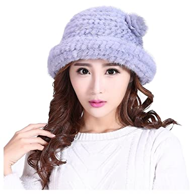 5af0282b0b9d7 Hand Knitted Women Hat Mink Fur Hat Lady's Cap Winter Warm Hat Mink ...