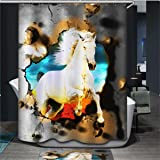 Dodou 72 X 72 Inch horse digital printing Anti Bacterial Waterproof Polyester Shower Curtain