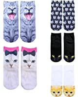 Footalk Women 3D Cartoon Print Colorful Funny Casual Crazy Ankle Socks