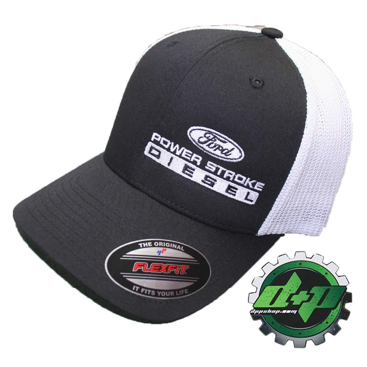 839ff8e6aad Amazon.com: Flexfit Fitted Ford Powerstroke Trucker Ball Cap hat Diesel  Truck Gear Flex fit Offset: Sports & Outdoors