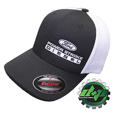 104cb883a Flexfit Fitted Ford Powerstroke Trucker Ball Cap hat Diesel Truck Gear Flex  fit Offset