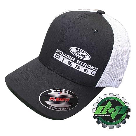 a90f3f0c Amazon.com: Flexfit Fitted Ford Powerstroke Trucker Ball Cap hat Diesel  Truck Gear Flex fit Offset: Sports & Outdoors