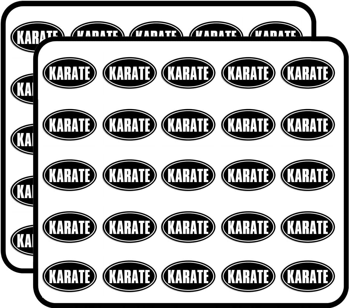 Black Oval Karate (Martial Arts Fight MMA) Sticker for Scrapbooking, Calendars, Arts, Kids DIY Crafts, Album, Bullet Journals 50 Pack