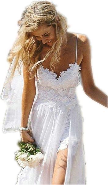 YSK para espaguetis largo playa vestido de novia de gasa blanco Fiesta vestidos - Blanco -