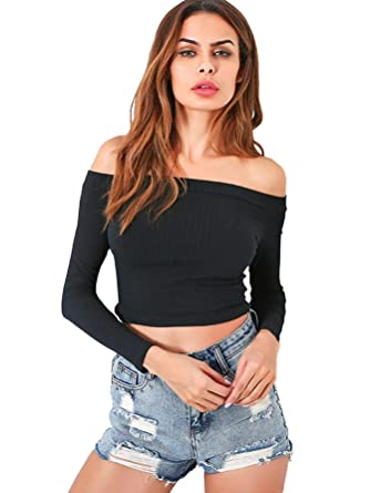 86af85b313 SheIn Women's Sexy Off Shoulder Rib Knit Crop Tops Long Sleeves Casual Slim  Tees Small Black