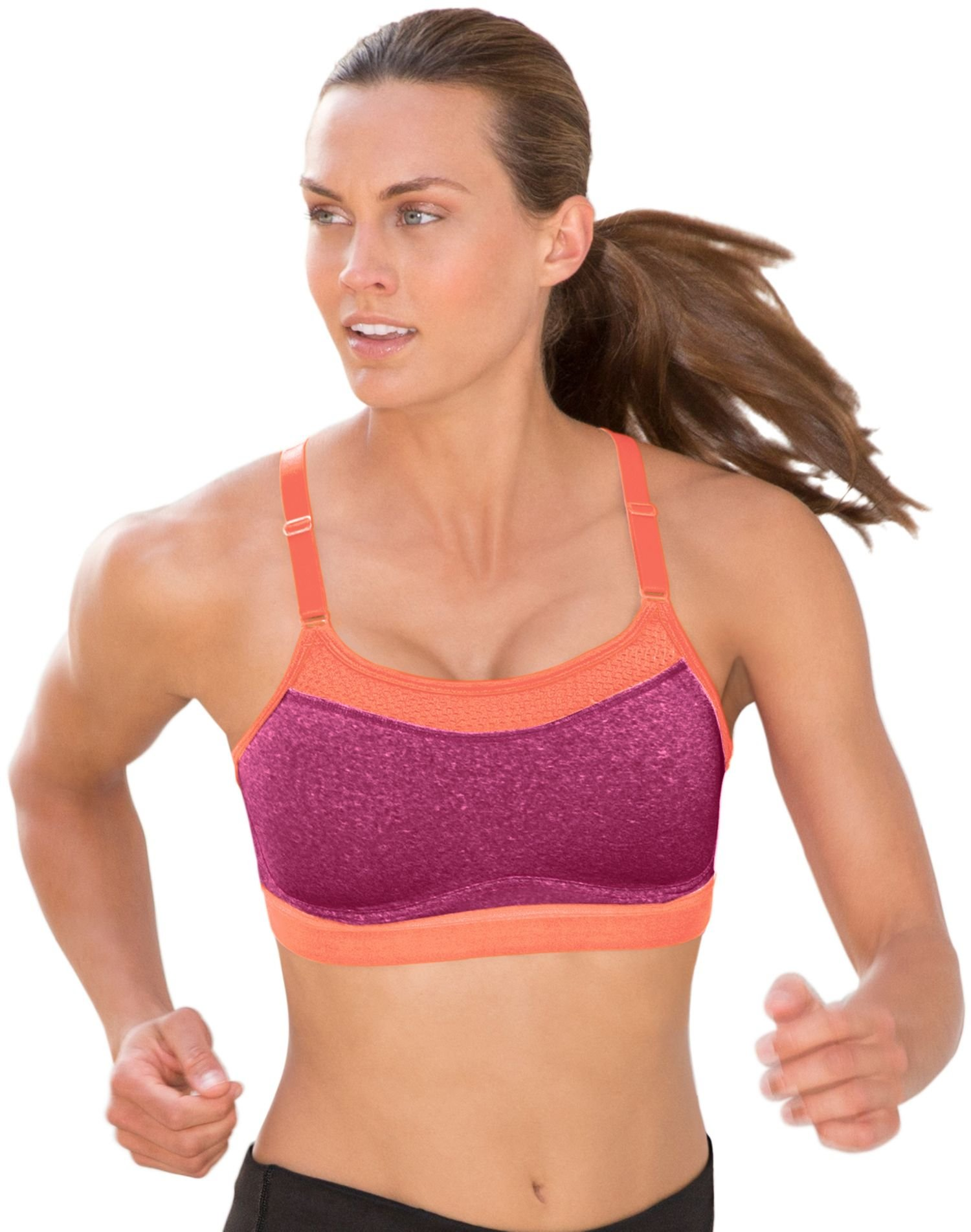 Champion Women's The Show-Off Sports Bra, Berry Delight Heather/Deep Sea Coral, Large by Champion