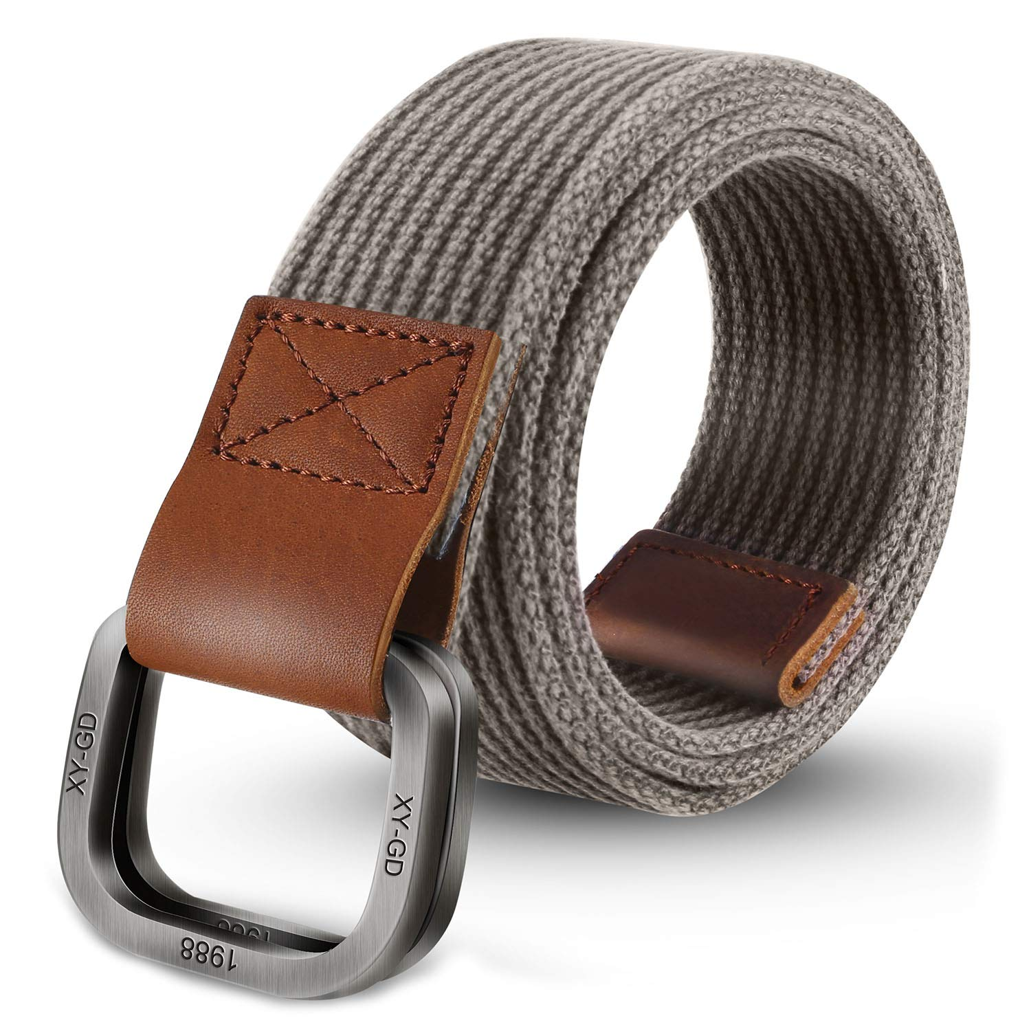 def18d419a9 ITIEZY Men s Canvas Belt Military Style Double D-Ring Buckle Casual Webbing  Belt at Amazon Men s Clothing store