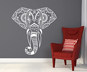 Mandala Elephant Wall Decals Hippie Decal Yoga Vinyl Sticker Boho Bedroom