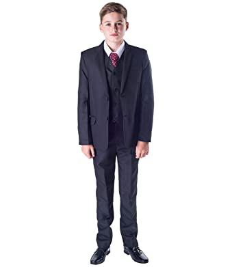Romario niños 5 Piezas Negro clásico Traje de Bodas Page Boy Traje – 3 – 6 M a 14 años