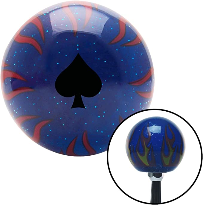 American Shifter 297696 Shift Knob Black Spades Blue Flame Metal Flake with M16 x 1.5 Insert