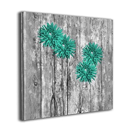 Ale Art Canvas Wall Decor Teal Flowers Farmhouse Country Rustic Theme Home