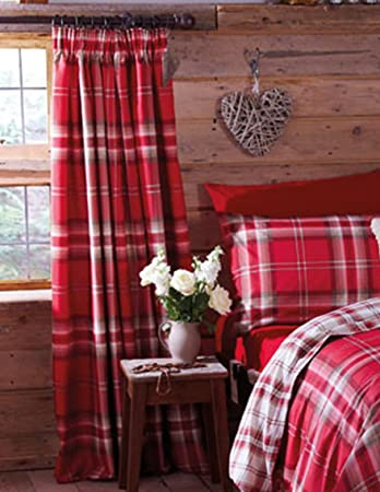 Red Curtains amazon red curtains : Catherine Lansfield Kelso Cotton Rich Curtains 66 x 72 inch - Red ...