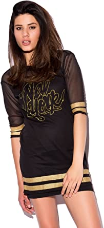 Q2 Mujer Vestido Estilo Camiseta de Baloncesto - XS - Negro ...