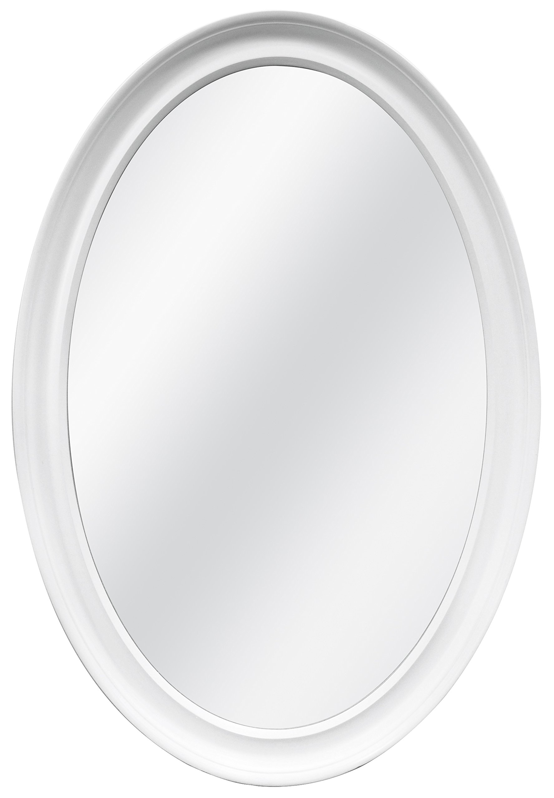 MCS Oval Wall Mirror, 21x31 Inch Overall Size, White (20458)