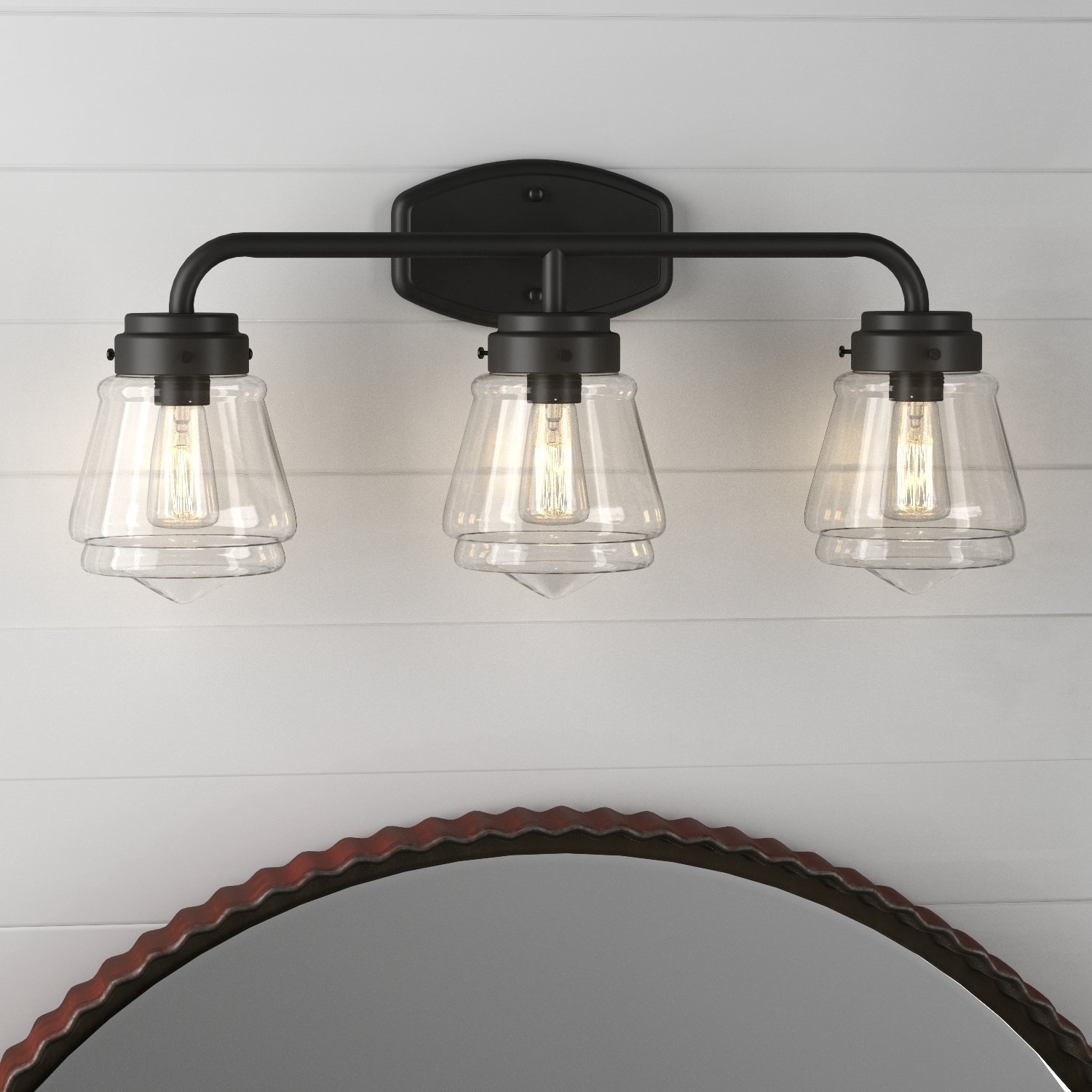 Stone & Beam Vintage 3-Light Vanity Fixture, 11.5''H, With Bulb, Matte Black with Glass Shade by Stone & Beam (Image #3)