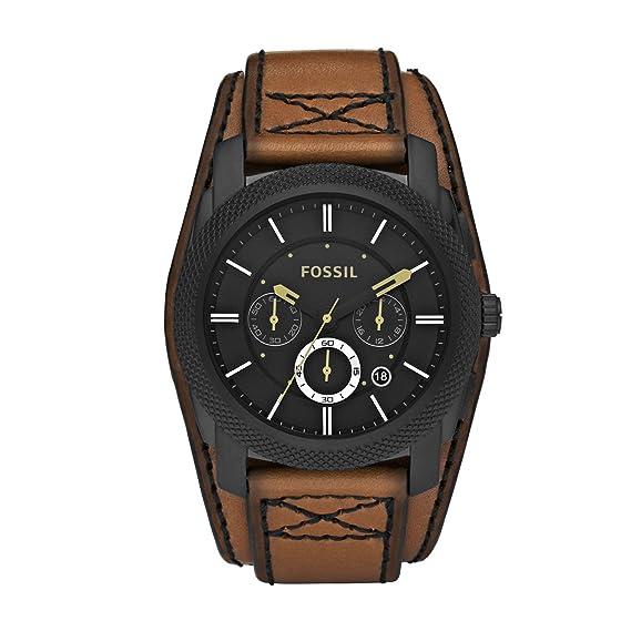Fossil Mens Dress FS4616 - Reloj cronógrafo de cuarzo para hombre, correa de cuero color