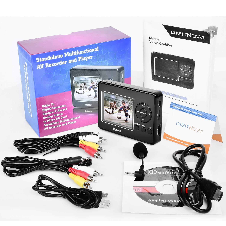 Convertidor de captura de vídeo Con Micrófono, VHS a DVD Digital Grabber Grabador, RCA a HDMI Capturadora Digitalizadora, Jugador y Guardar en tarjeta SD: ...