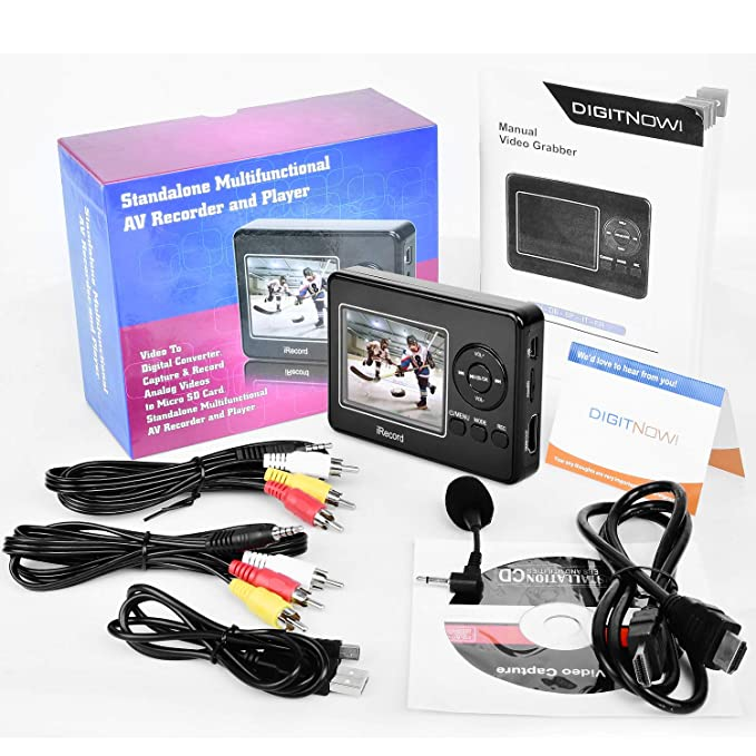 DIGITNOW Video to Digital Converter, Video Capture from VCR/VHS/ Hi8/  Camcorder/Gaming Systems, Video Recorder and Player with Microphone, Record