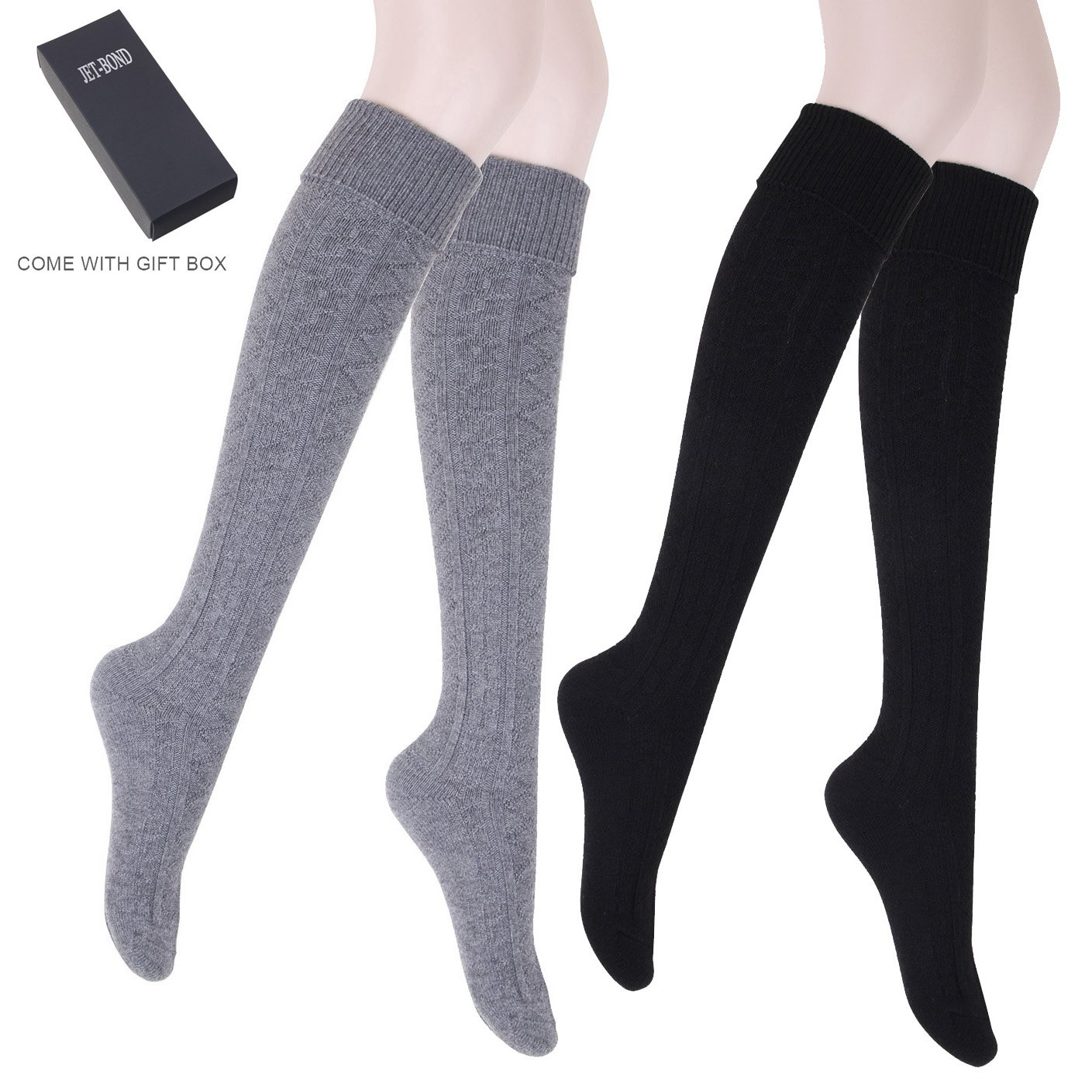 JET-BOND Thick Wool Woollen Cashmere Thigh High Knee Socks Warm Stockings Knit Sweater Thickening Leg Warmers FS03 (Thick Pack of 2)