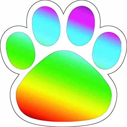 Paw print rainbow. Amazon com car magnet