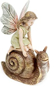 Racing Snail Fairy Girl 3.25 Inch Miniature Fairy Garden Resin Figurine