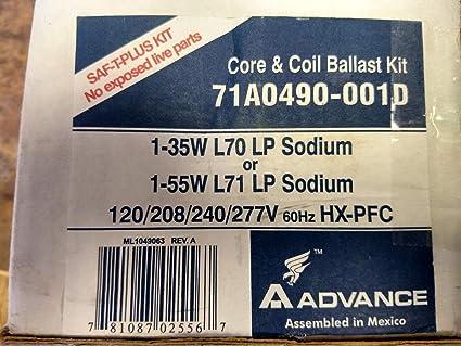Advance 71a0490 35 55w L70 71 Low Pressure Sodium Core And Coil Ballast Quad Kit