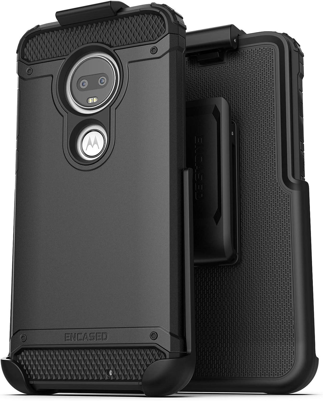Encased Moto G7 Belt Clip Holster Case (2019 Scorpio Armor) Ultra Protective Tough Grip Cover with Holder Motorola G7 ONLY - Black
