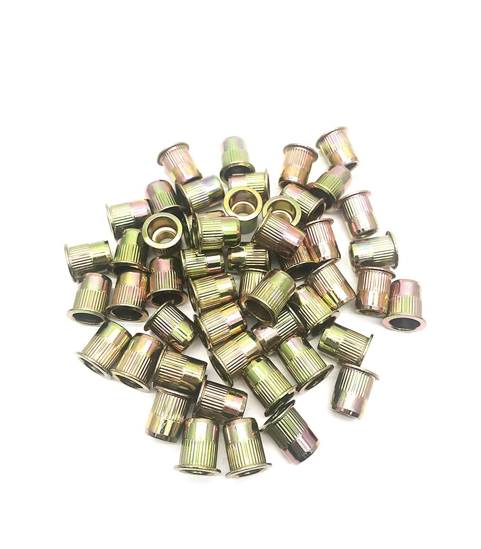 50Pcs Zinc Plated Carbon Steel Rivet Nut Flat Head Insert Size 3/8x13.5x18